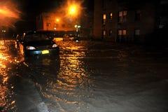被充斥的汽车,造成由Hurricane桑迪, NY 库存图片