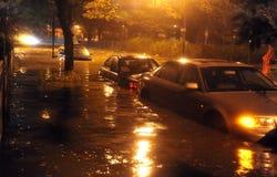 被充斥的汽车,造成由Hurricane桑迪 图库摄影