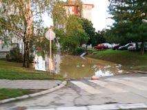 被充斥的街道在城市,在洪水以后的状态 图库摄影