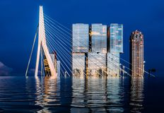被充斥的鹿特丹,荷兰数字操作气候变化概念 库存例证