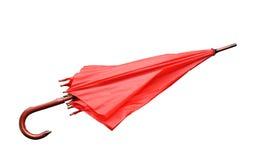 被关闭的红色伞查出 免版税库存照片