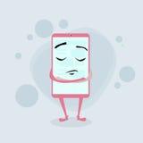 被关闭的聪明的手机桃红色漫画人物 免版税库存图片