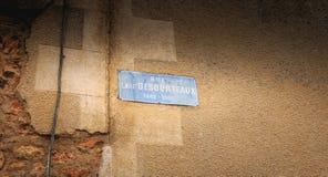 被写的街道匾-街道埃米尔DESOURTEAUX 184 图库摄影