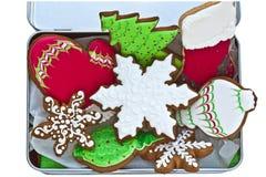 被冰的圣诞节曲奇饼 免版税库存照片