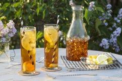 被冰的茶外面在庭院里 免版税库存照片