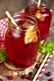 被冰的蔓越桔茶用桔子 库存图片