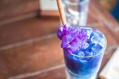 被冰的蝴蝶豌豆拿铁用在木桌上的牛奶 图库摄影