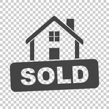 被出售的房子符号 在被隔绝的backg的平的传染媒介例证 向量例证
