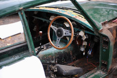 被击毁的汽车老 免版税库存图片