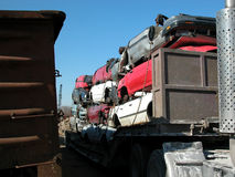 被击碎的汽车 库存照片