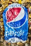 被击碎的百事可乐罐头 免版税库存图片
