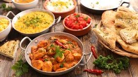 被分类的印度食物烹调 免版税库存图片