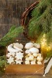 被分类的圣诞节曲奇饼:桂香星,香草月牙, stollen和姜立方体在一个木箱 土气样式 免版税库存图片