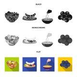 被分类的坚果、果子和其他食物 食物集合汇集象在黑,平,单色样式传染媒介标志库存 皇族释放例证