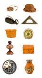 被分类的多种老对象和工具收藏 免版税库存照片