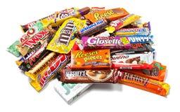 被分类的巧克力堆产品 图库摄影