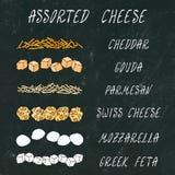 被分类的干酪 被磨碎的Chedder,巴马干酪,荷兰扁圆形干酪,瑞士人,希脂乳立方体,微型无盐干酪 深度域浅成份的薄饼 手拉的优质C 皇族释放例证
