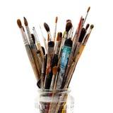 被分类的画笔坏的烧瓶玻璃绘画 免版税库存照片