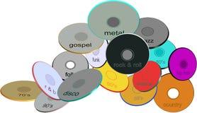 被分类的盘风格音乐 免版税库存图片