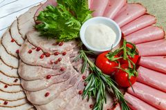 被分类的肉和火腿纤巧 免版税库存照片