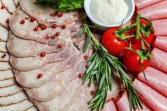 被分类的肉和火腿纤巧 免版税库存图片