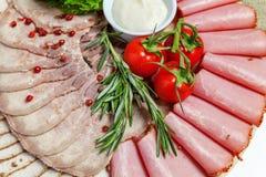 被分类的肉和火腿纤巧 库存图片