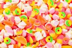 被分类的胶粘的糖果 顶视图 果冻甜点 免版税库存图片