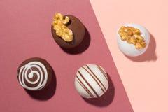 被分类的自创块菌状巧克力 糖果球平的设计  免版税图库摄影