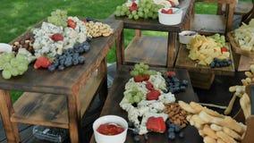 被分类的自然和健康有机切达干酪gauda巴马干酪和果子莓果和坚果宴餐的年轻 股票视频