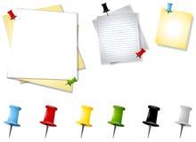 被分类的通知单纸张图钉 库存例证