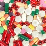 被分类的配药医学药片、片剂和胶囊bac 免版税库存照片