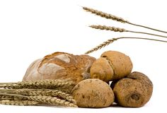 被分类的面包查出麦子 免版税库存图片