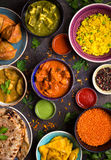 被分类的印地安食物 库存图片