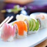 被分类的卷寿司 免版税图库摄影