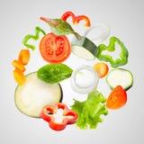 被分类的新鲜蔬菜飞行 免版税库存图片