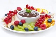 被分类的果子用在板材的巧克力汁,特写镜头 库存照片