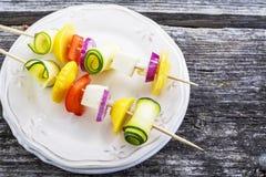 被分类的菜和希腊白软干酪容易的菜开胃菜在串野餐,夏天党 作为背景诱饵概念美元灰色吊异常分支 库存图片