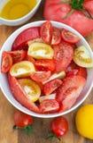 被分类的蕃茄沙拉 库存图片