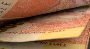 被分离的钞票特写镜头细节 库存图片