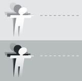 被切开的纸指向人的图 向量例证