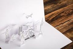 被切开的纸(日本、法国、意大利、纽约、印度,埃及) 库存图片