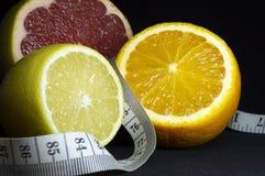 被切的柑橘水果:柠檬、桔子和葡萄柚与测量的磁带 黑色背景 库存图片