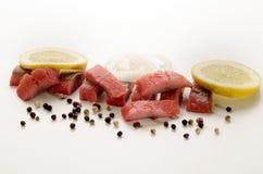 被切的桃红色†‹â€ ‹鲱鱼内圆角小条 免版税库存图片