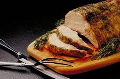 被切的烤猪肉 免版税库存图片