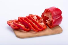 被切的红色peppe 库存照片