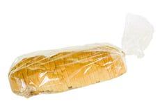 被切的袋子面包法国塑料土气 免版税图库摄影