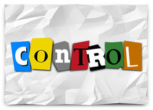 被删去的控制字在赎金票据上写字共计控制权 库存照片