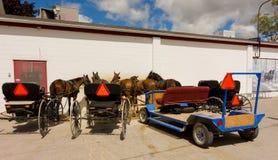 被利用的马用于拉扯门诺派中的严紧派的无盖货车 免版税图库摄影
