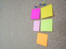 被别住的小组图钉和关于黄柏的备忘录笔记上 免版税库存照片