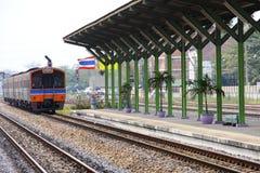 被到达的活动火车站泰国 库存图片